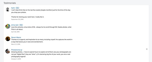 Testimonials Make the Cut in the New Flickr Profile Page | by thomashawkblog