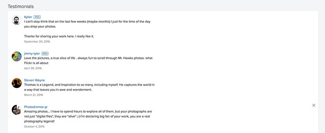 Testimonials Make the Cut in the New Flickr Profile Page