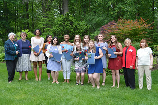 28. 2017ScholarshipTea0088: award recipients and WCCP Scholarship Committee