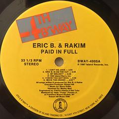 ERIC B. & RAKIM:PAID IN FULL(LABEL SIDE-A)
