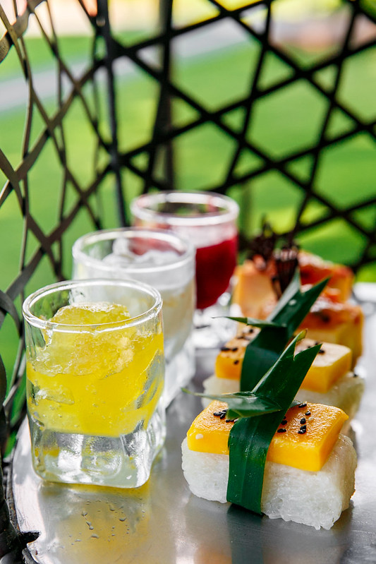 mango and rice cakes, bird cage afternoon tea Thailand