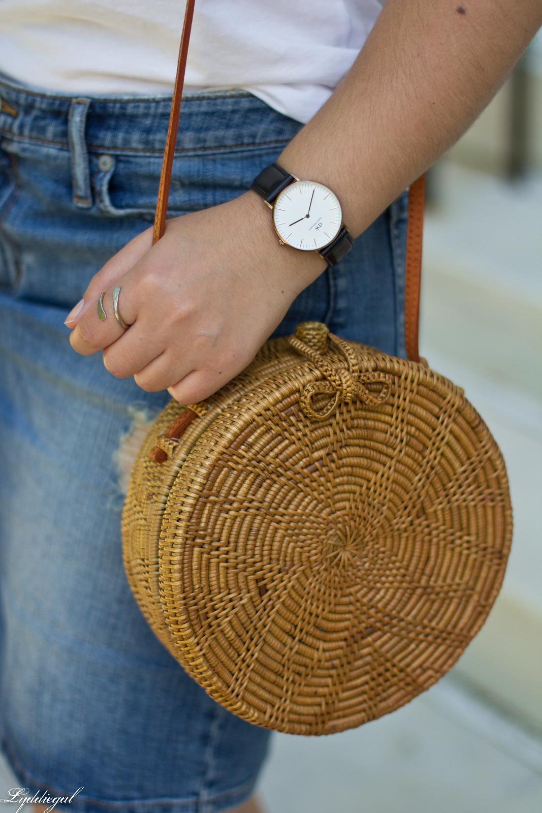 white tee, denim pencil skirt, soak slides, round straw bag-2.jpg