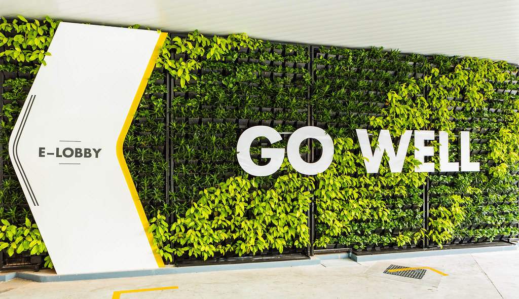 The green walls in the station are filled with real plants and brighten up the whole facade.
