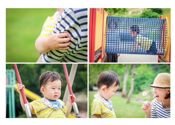 家族写真のロケーション撮影 子供 遊具 タンポポ 森林公園(愛知県尾張旭市 名古屋市)撮り方 服装カジュアル 屋外 緑と一緒に 人気 オススメ データ納品