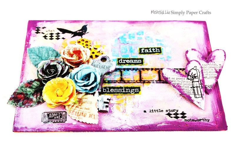 Meihsia Liu Simply Paper Crafts Mixed Media Canvas Simon Ssays Stamp Prima Flowers Texture