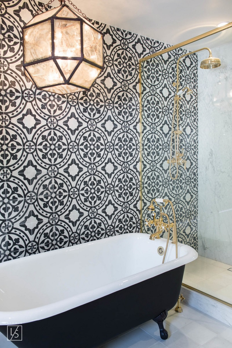 The 15 Best Tiled Bathrooms on Pinterest Black White Moroccan Tiled Accent Wall Clawfoot Tub