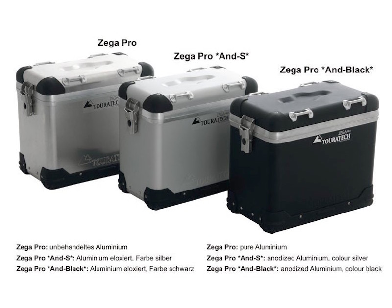 Touratech ZEGA Pro Panniers in Black Anodized Aluminum