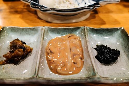 珍味三点セット塩辛・柚きのこ味噌・海苔佃煮Ito Palace hotel breakfast 06