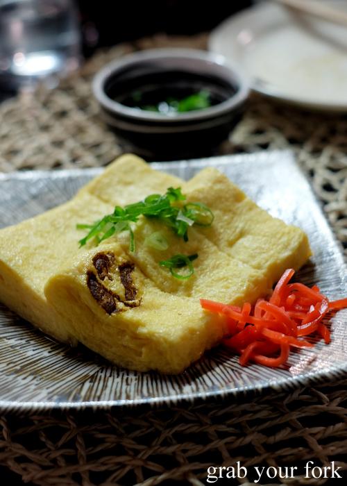 Dashimaki tamago omelette at Yakitori Jin Japanese restaurant in Haberfield Sydney