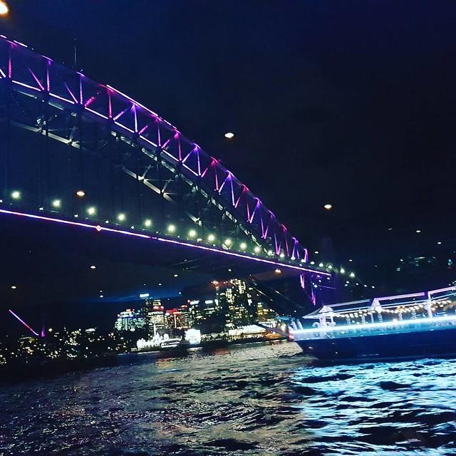 Sydney Harbour is lit! #clearviewcruises #vividsydney #sydneyharbour #sydneyharbourbridge