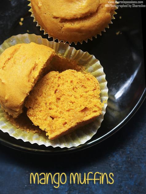 Eggless mango muffins recipe