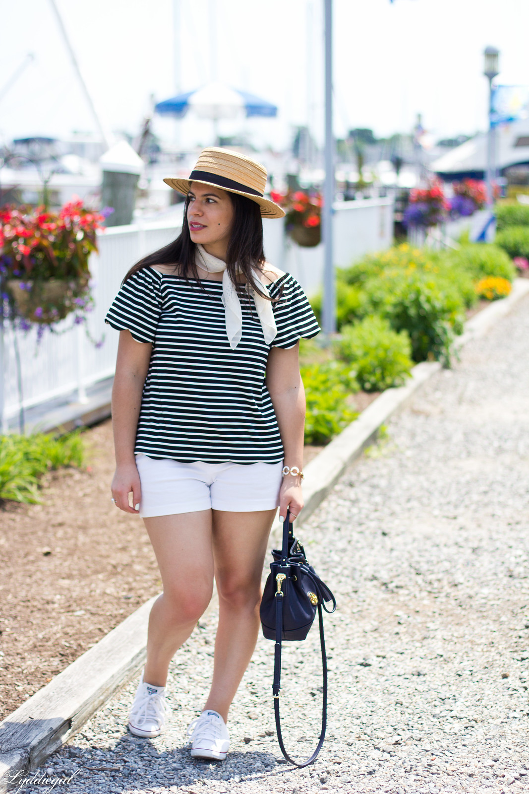 striped off the shoulder top, white shorts, straw hat-3.jpg