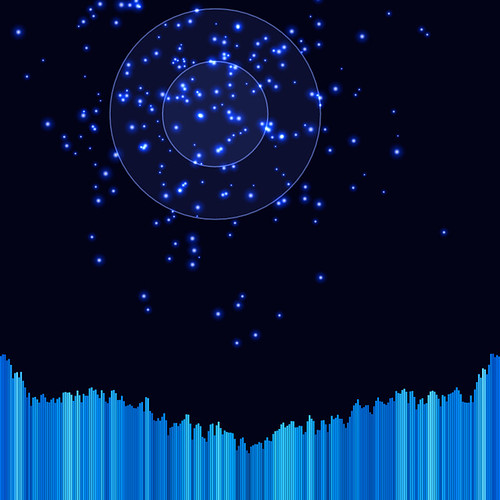 JS_Music Player_SS_(2017_06_28)_2_Cropped_1 ミュージック プレイヤーのスクリーンショット画像。 黒い背景の上に青色の二重の光る円環があり、円環の中心から青色の多数の輝く粒子が放出されている。 画面の下方には音楽のスペクトラム アナライザーのヴィジュアライザーが描画されており、垂直の青色のバーが多数横方向に並んで伸び縮みしている。 青色のバーは明るさと彩度と色相に微妙なグラデーションが掛かっている。