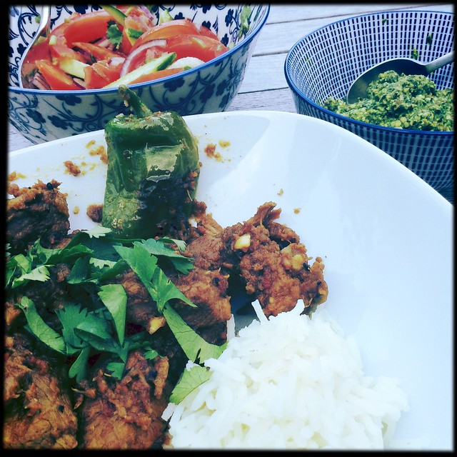 Tangy Andhra lamb &a tangy herb chutney