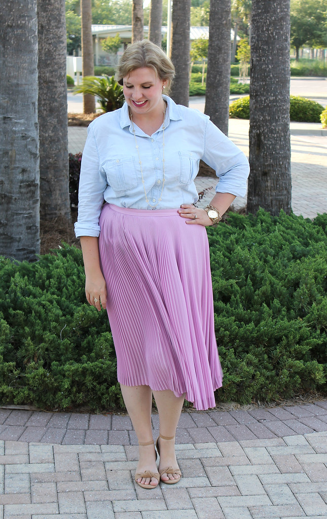 pink pleated midi and a chambray shirt 4