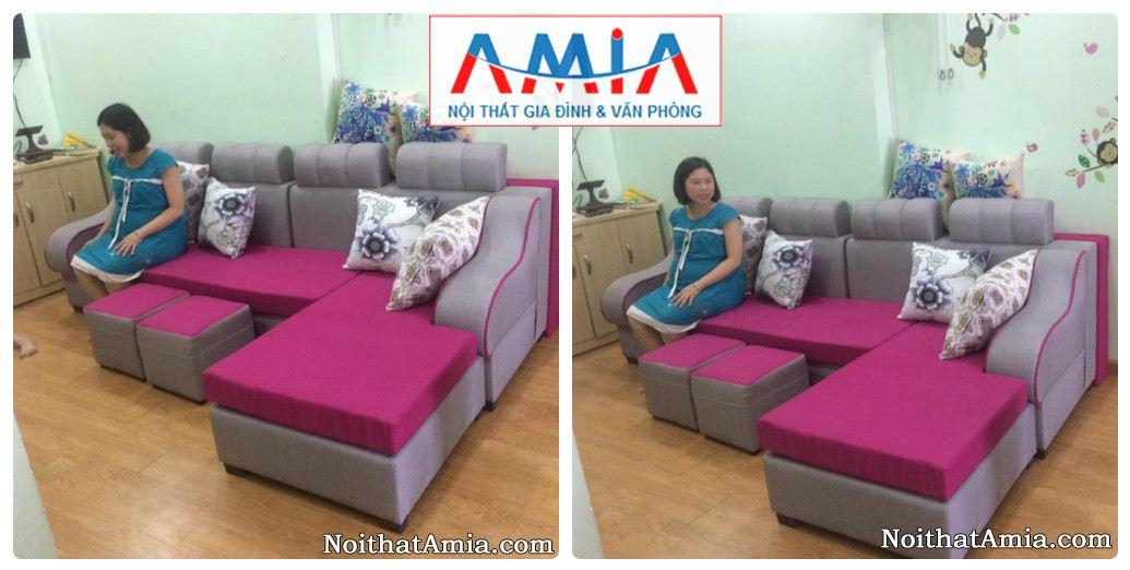 Hinh anh mau sofa ni dep AmiA SFN050 duoc lap tai phong khach gia dinh khach hang