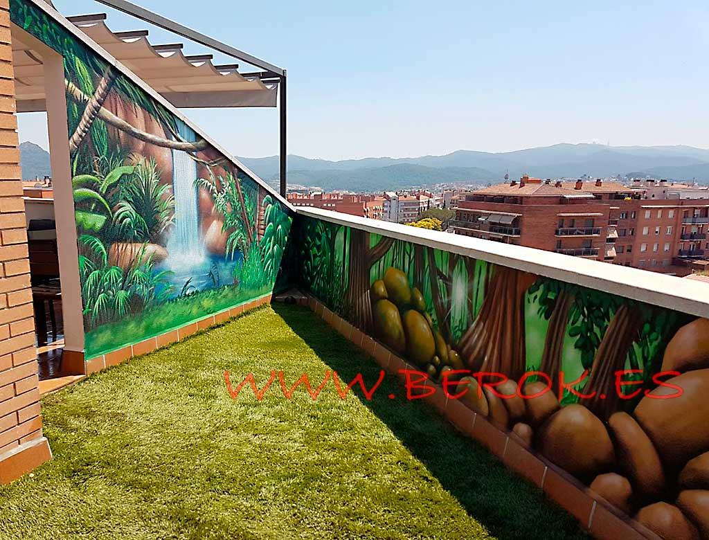 Murales Terraza Cascada Pintura Mural Decoración Graffit