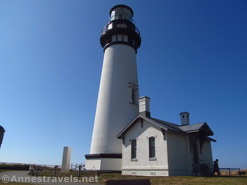 The lighthouse and keeper's house at the Yaquina Head Outstanding Natural Area, Oregon