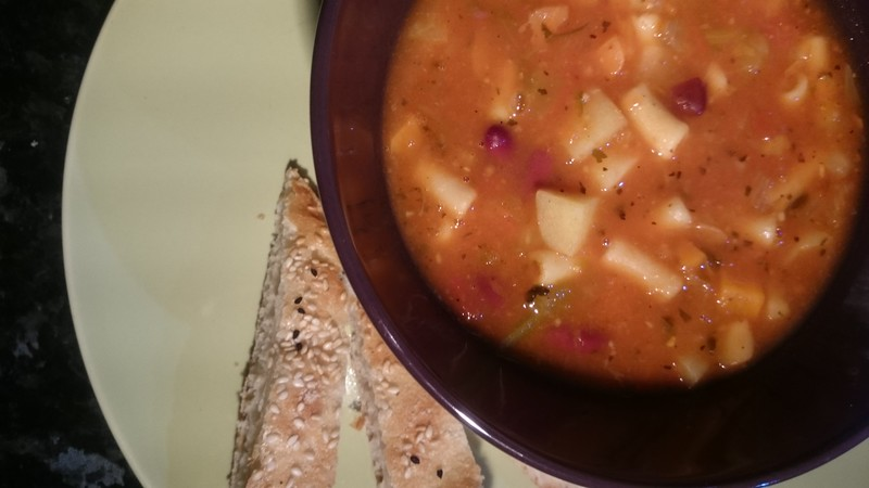 Minestrone soup; from the case kitchen