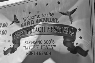 North Beach - Festival Sign bw