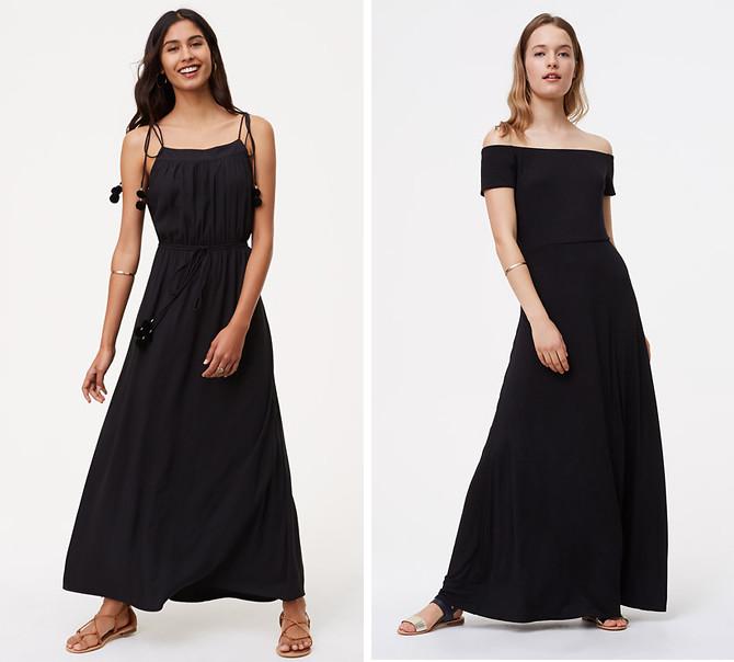 loft petite black maxi dresses