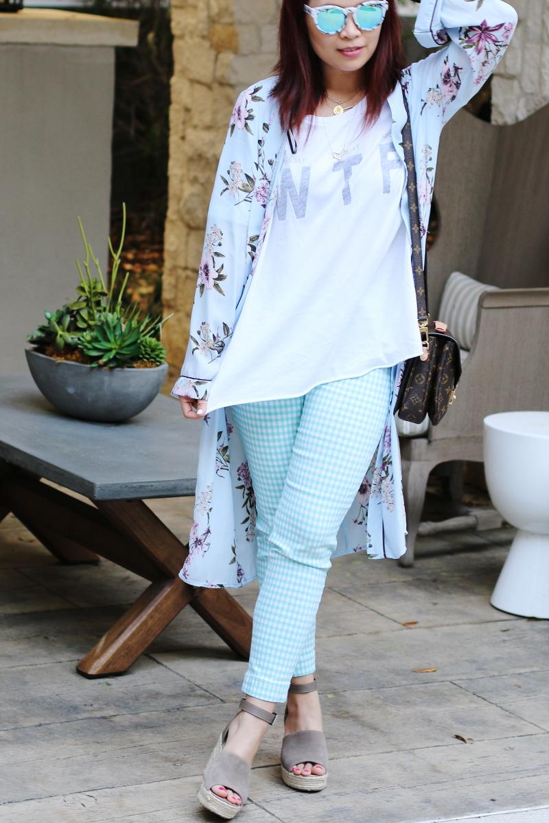 wtf wildfox tee check pants kimono quay blue lens sunglasses