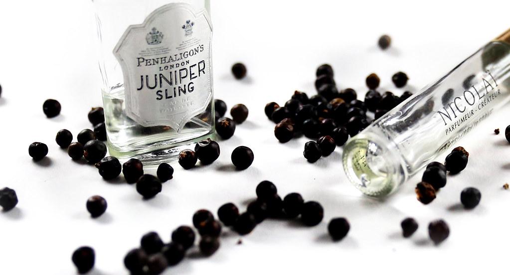 Penhaligon's Juniper Sling wraz z perfumami Nicolai Cuir Cuba Intense w wersji podróżnej