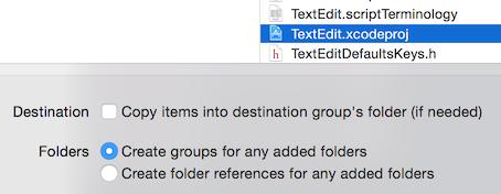 Xcodeのワークスペースに既存プロジェクトを追加する際の設定。Distination欄の「Copy items into destination group's folder (if needed)」のチェックは外し、Folders欄の「Create groups for any added folders」を選択する