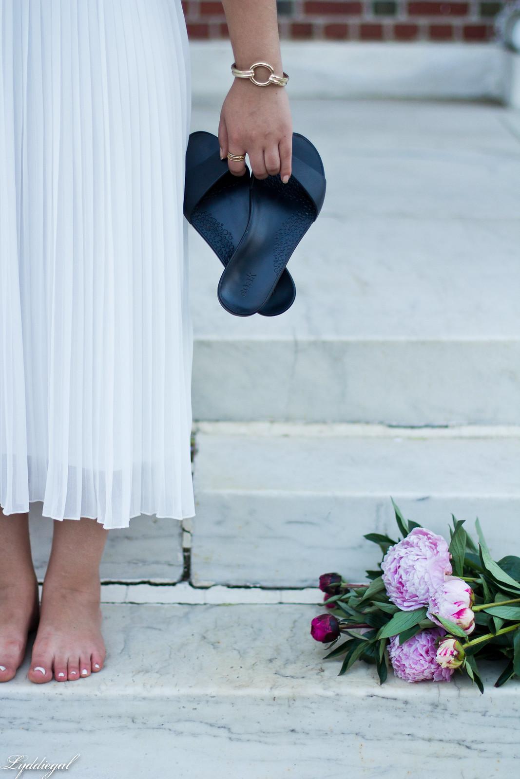 white pleated skirt, black off the shoulder tee, Soak sandals-9.jpg