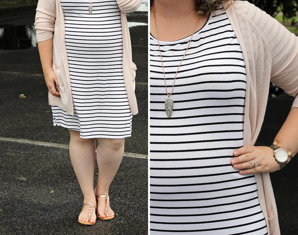 black and white stripe dress, long blush cardigan 1