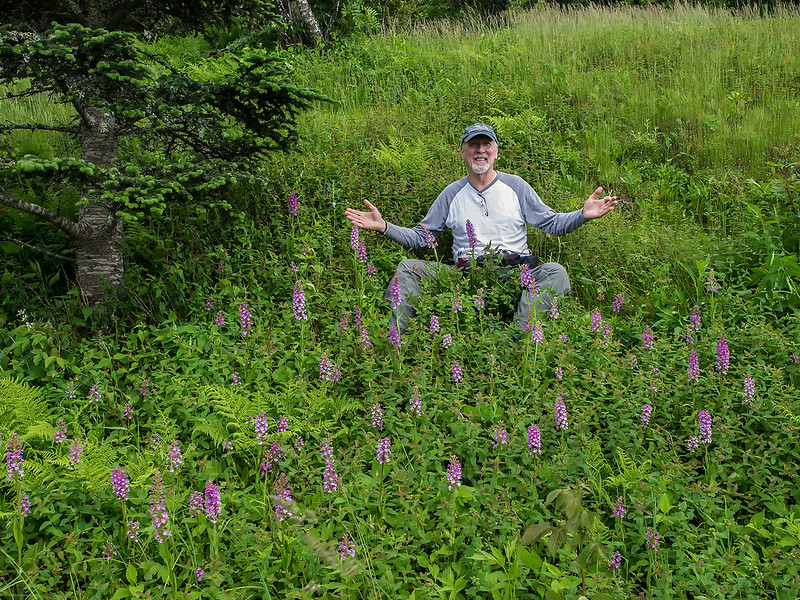 Jim in the orchid patch on Mt. Mitchell...