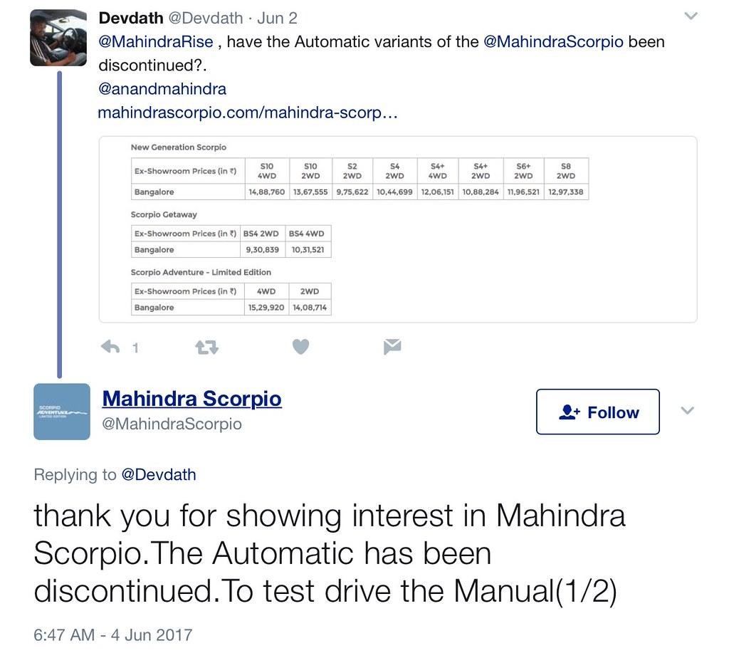 Mahindra-Scorpio-Automatic-variants-discontinued