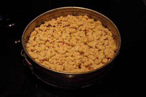 Rhabarberkuchen mit Vanillecreme und Streuseln (ganz)