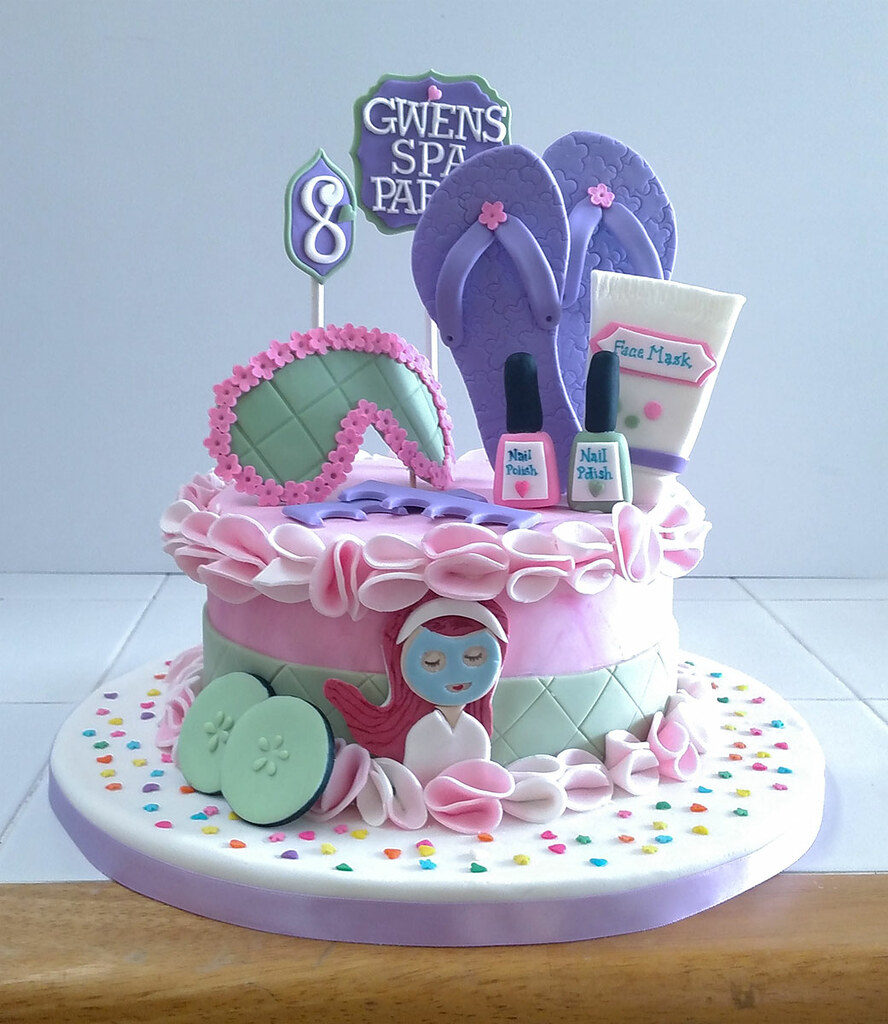 Gwens Spa Birthday Cake A Little Pink Purple And Green Fo Flickr