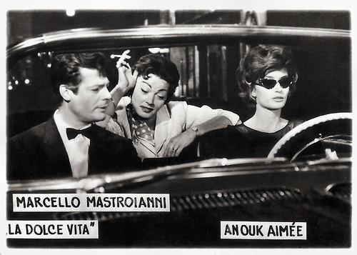 Marcello Mastroianni and Anouk Aimee in La dolce vita (1960)