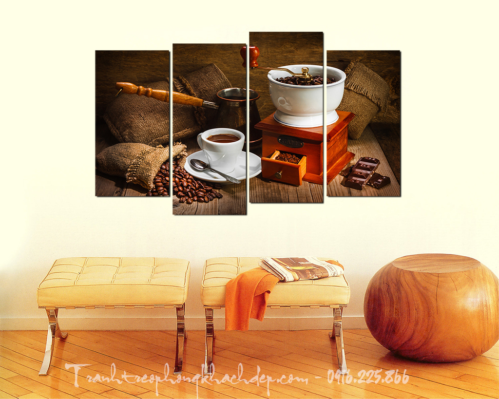 Tranh trang tri quan cafe coi xay ghep 4 tam AmiA Ha Noi