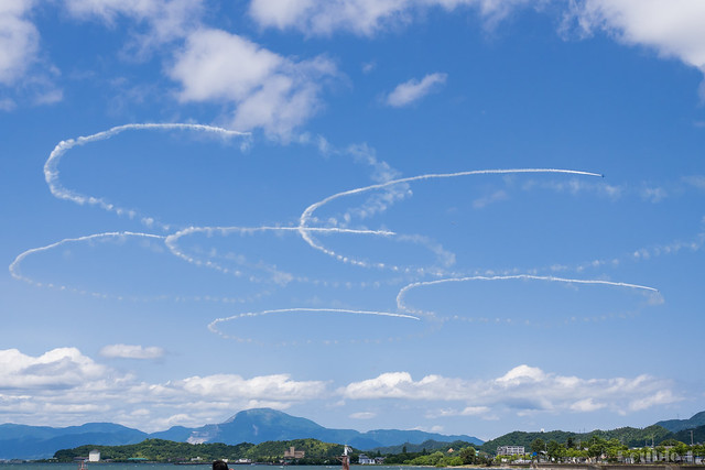 Blue Impulse's rehearsal flight for the 410th anniv. of Hikone Castle (20) Sakura