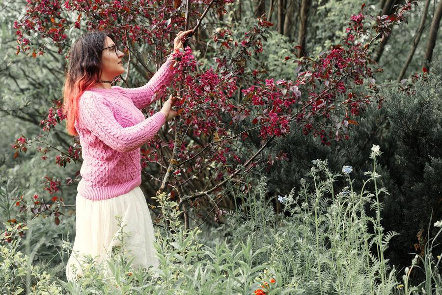 Цветущие розовые яблони