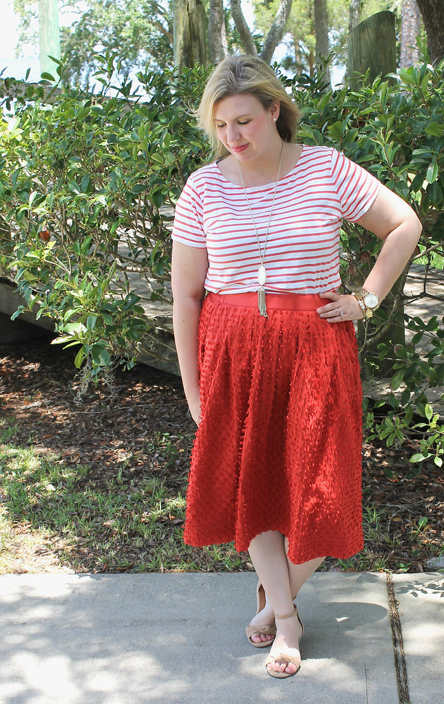 red midi skirt red stripe shirt 2