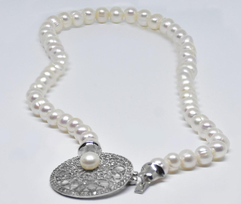 Ahsen 925K Gümüş Zirkon Taşlı Doğal Beyaz İnci Kolye-AH-00019