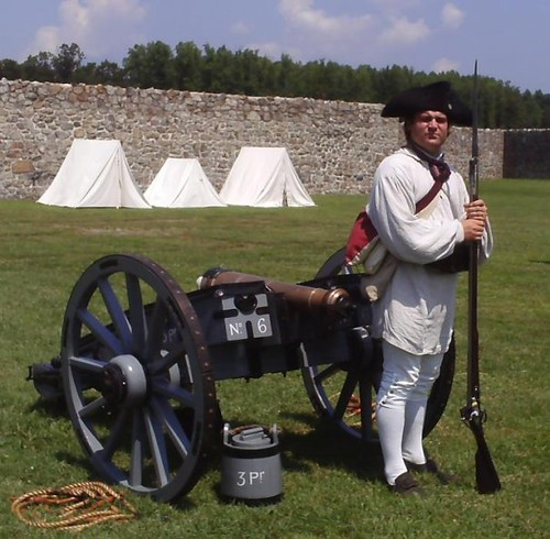 Photo of living historian portraying colonial American soldier