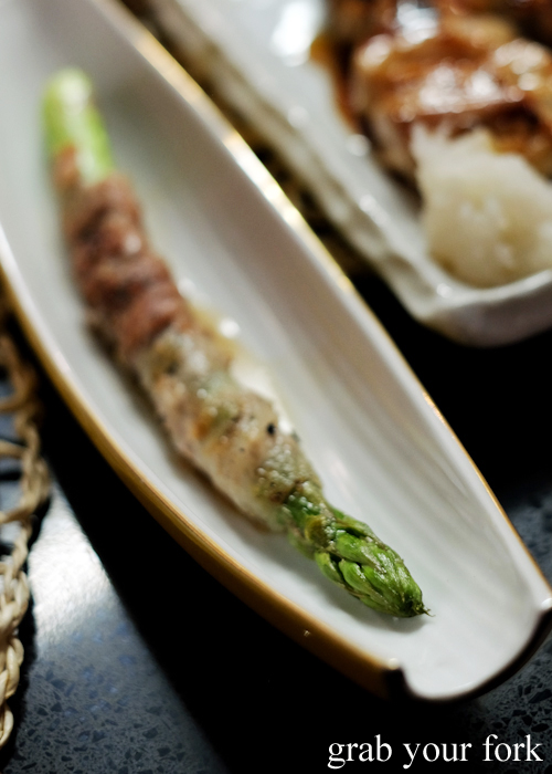 Asparagus wrapped in pork at Yakitori Jin Japanese restaurant in Haberfield Sydney