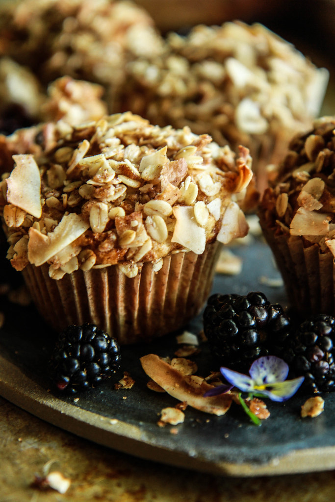 Blackberry Coconut Oatmeal Muffins (Vegan and Gluten Free) from HeatherChristo.com