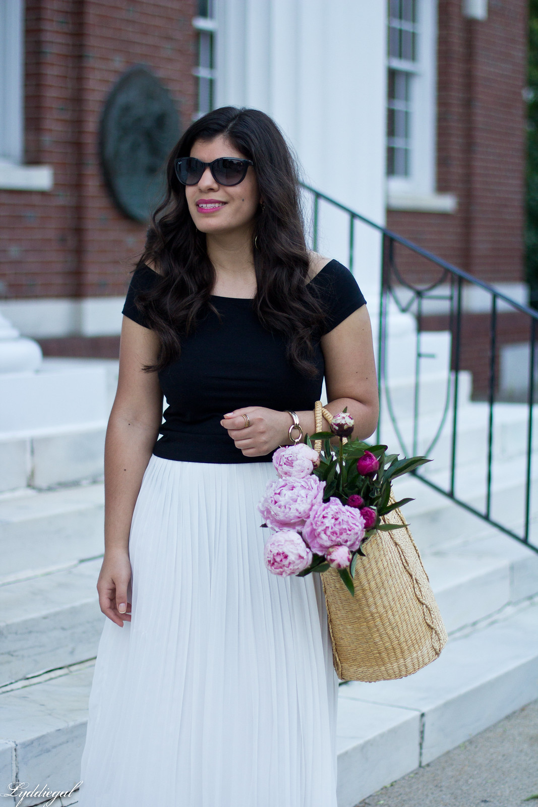 white pleated skirt, black off the shoulder tee, Soak sandals-15.jpg