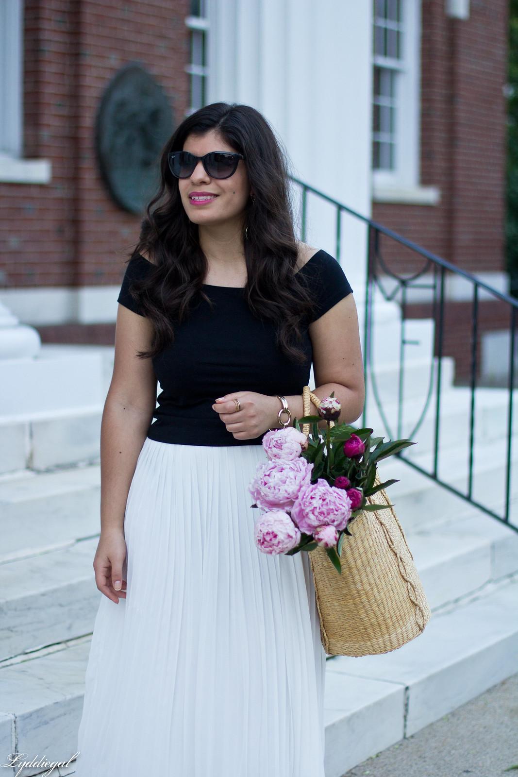 white pleated skirt, black off the shoulder tee, Soak sandals-15.jpg