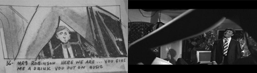 映画「卒業」の絵コンテと映像