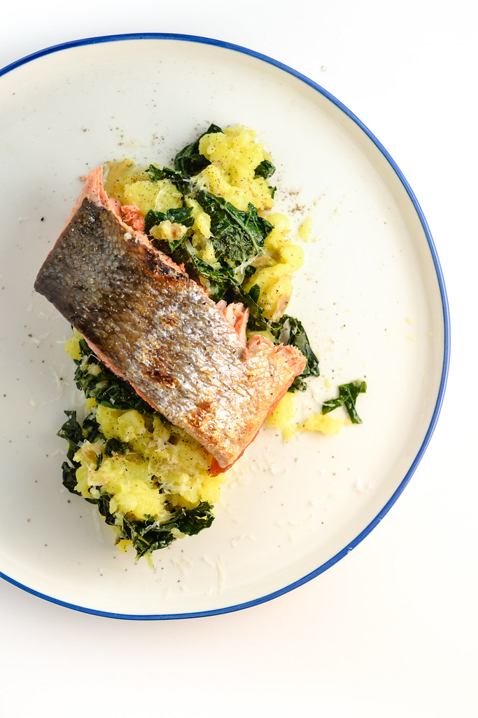 salmon with kale mashed potatoes | things i made today