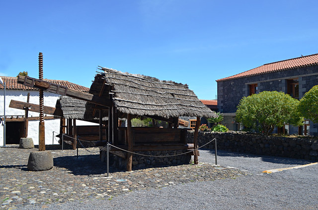 Wine press in the courtyard at Casa del Patio, Santiago del Teide