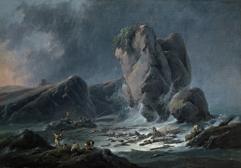 Jean-Baptiste Pillement - Naufragos llegando a la costa (c.1795)