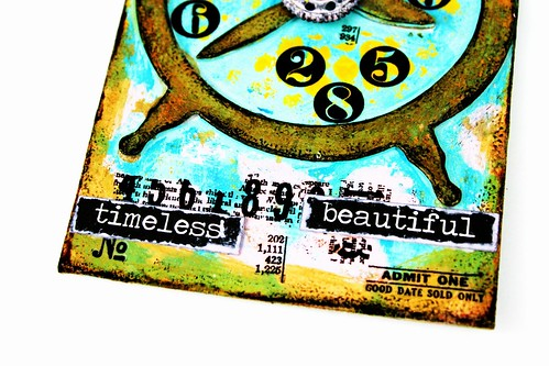 Meihsia Liu Simply Paper Crafts Mixed Media Tag Circle Clock Simon Says Stamp Tim Holtz 5